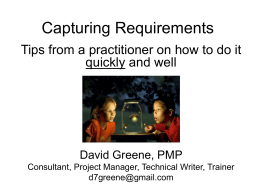 Capturing requirements - PMI Baltimore Chapter