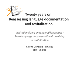 Twenty years on: Reassessing language documentation …