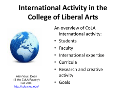 International Activity in the College of Liberal Arts