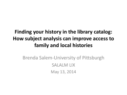 Finding your history in the library catalog: How subject
