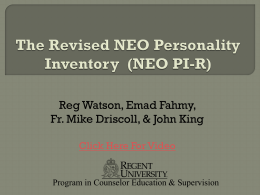 The Revised NEO Personality Inventory - NEO PI-R