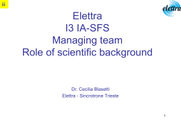 Elettra I3 IA-SFS Managing team Role of scientific …