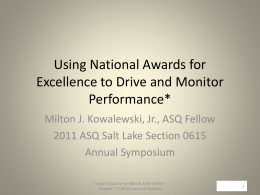 Using National Awards for Excellence to Drive and …