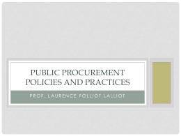 Public Procurement Policies and Practices