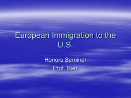 European Immigration and Newark