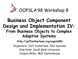 Business Object Component Architectures: A Target