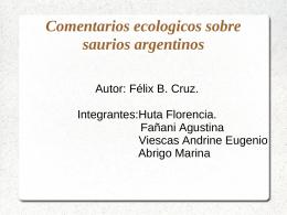 Comentarios ecologicos sobre saurios argentinos
