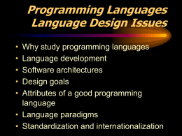 Programming Languages Language Design Issues