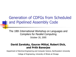 Generation of CDFGs from Scheduled and Pipelined …