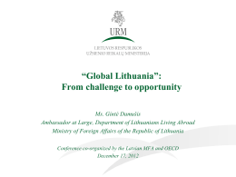 "Global Lithuania"": from challenge to opportunity"