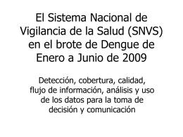 El Sistema Nacional de Vigilancia de la Salud (SNVS) en el