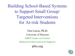 Small Group / Targeted Interventions