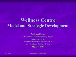 Wellness Centre Model and Strategic Development