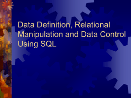 Data Definition: Creating a Relation