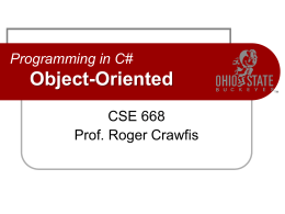 Programming in C# Classes and Structs