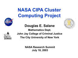 NASA CIPA Cluster Computing Project