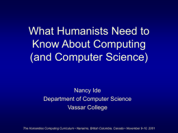 What Humanists Need to Know About Computing