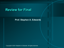 Review for Final - Columbia University