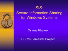 "SIS: Secure Information Sharing ""For Windows Systems"""