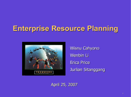 Enterprise Resource Planning April 25, 2007