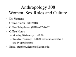 Anthropology 151 Physical Anthropology