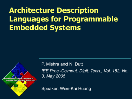 Architecture Description Languages for Programmable