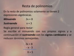 Resta de polinomios