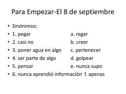 Para Empezar-El 8 de septiembre
