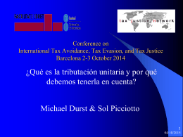 OECD Public Consultation Paris 23 April 2014 Tax