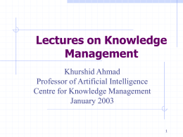 Knowledge Management and AI