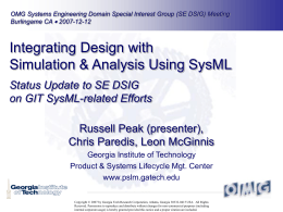 Integrating Design with Simulation & Analysis Using SysML