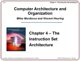 Computer Architecture and Organization Miles …