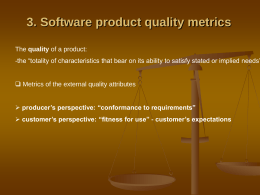 3. Software product quality metrics