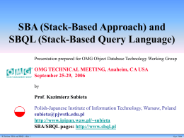 SBA (Stack-Based Approach) and SBQL (Stack