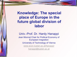 Knowledge: The special place of Europe in the future