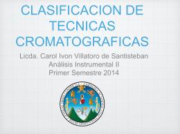 CLASIFICACION DE TECNICAS CROMATOGRAFICAS