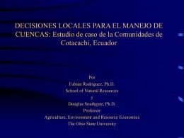 DECISIONES LOCALES PARA EL MANEJO DE CUENCAS: …