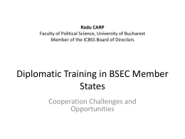 Diplomatic Training in BSEC countries: Cooperation