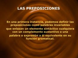 LAS PREPOSICIONES