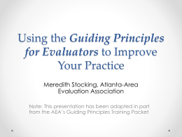 Using the Guiding Principles for Evaluators to Improve