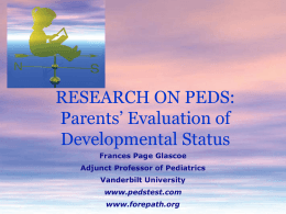 Using Parents' Evaluation of Developmental Status (PEDS)