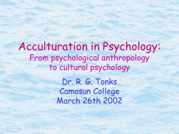 Acculturation in Psychology: From psychological
