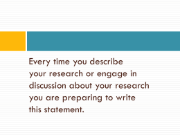 Writing Effective Research Statements for Fellowship & Job