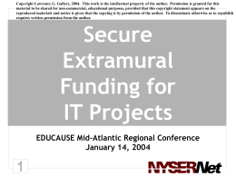 Secure Extramural Funding for IT Projects