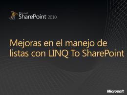 Mejoras en el manejo de listas con LINQ To SharePoint