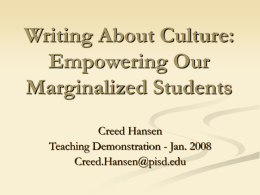 Writing About Culture: Empowering Our Marginalized …