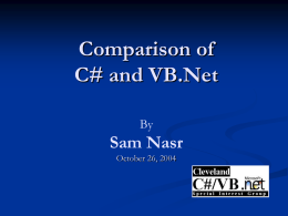 Comparison of C# and VB.Net