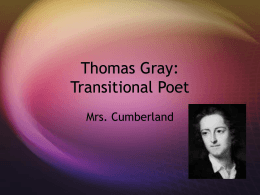 Thomas Gray: Transitional Poet