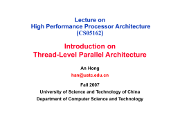 Lecture on High Performance Processor Architecture …