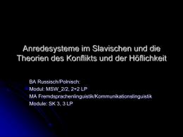 Anredesysteme im Slavischen und die Theorien des …